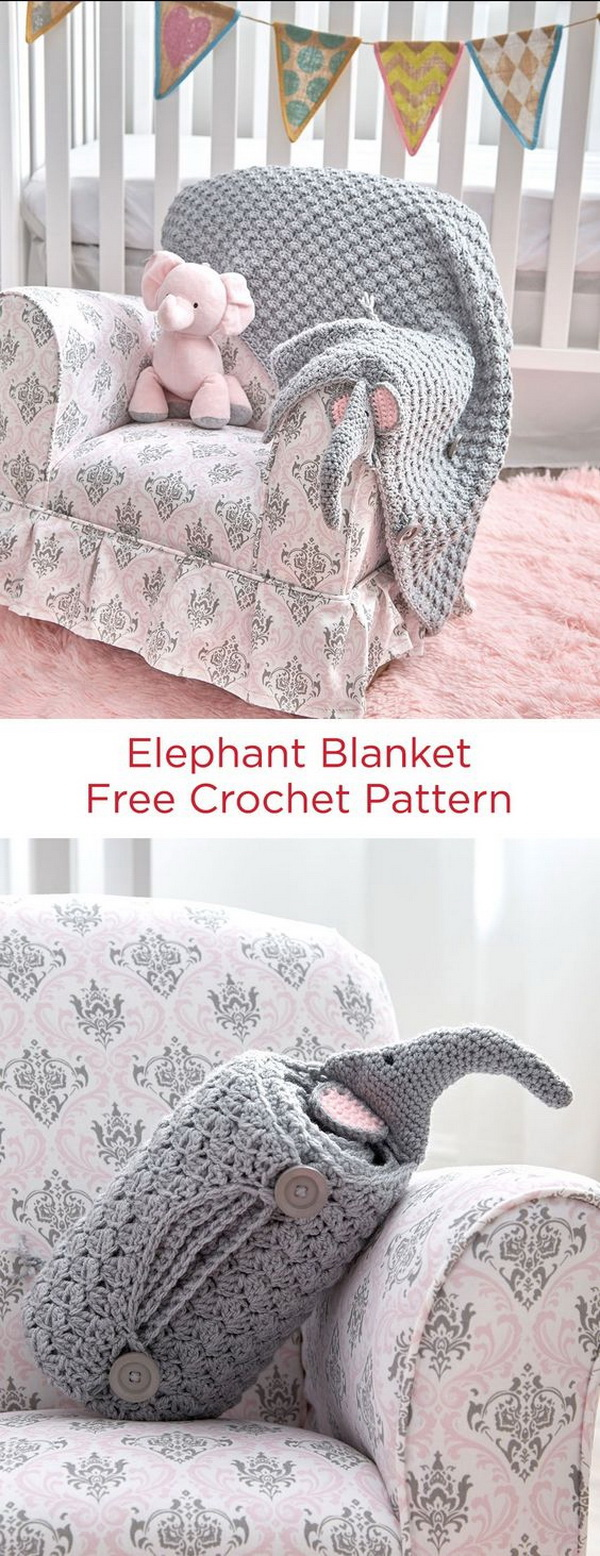 Quick And Easy Crochet Blanket Patterns For Beginners: Elephant Blanket Free Crochet Pattern.