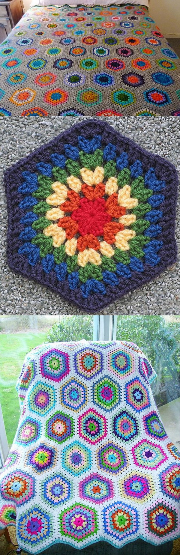 Quick And Easy Crochet Blanket Patterns For Beginners: Ruby Hexagon Blanket.