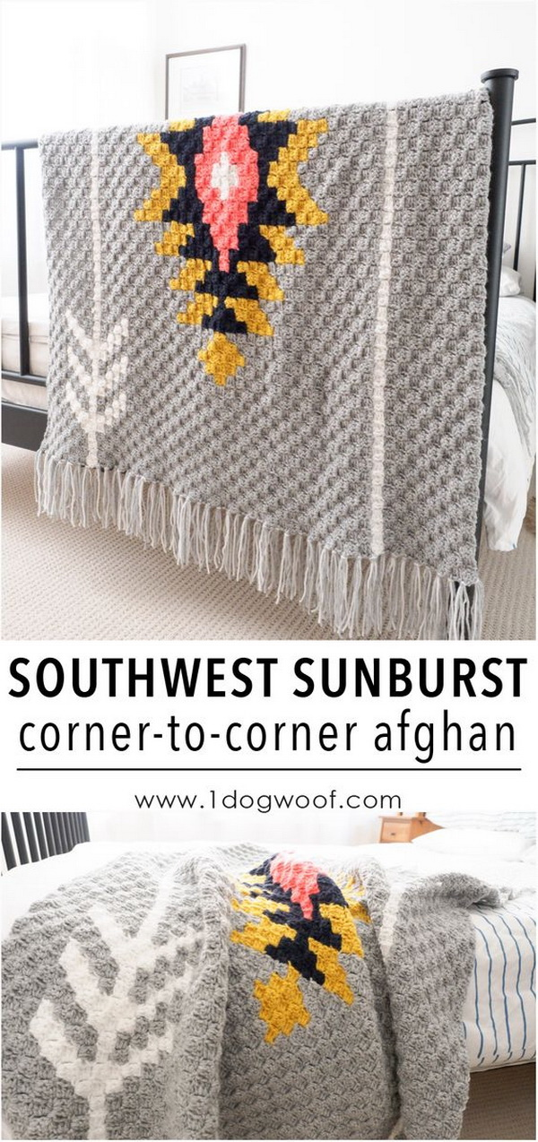 Quick And Easy Crochet Blanket Patterns For Beginners: Southwest Sunburst C2C Crochet Afghan.