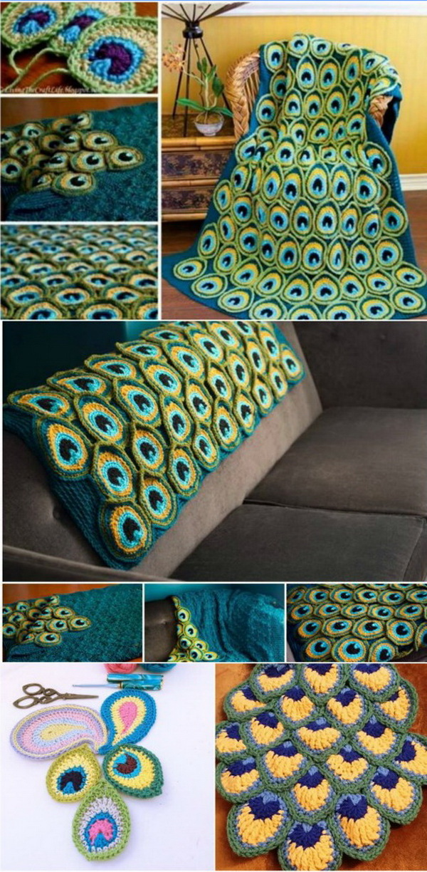 Quick And Easy Crochet Blanket Patterns For Beginners: Crochet Peacock Blanket.