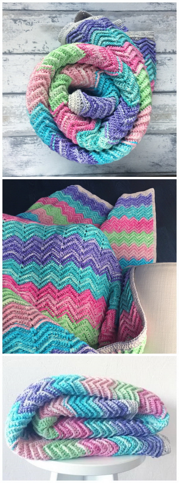 Quick And Easy Crochet Blanket Patterns For Beginners: Textured Chevron Blanket – Free Crochet Pattern.