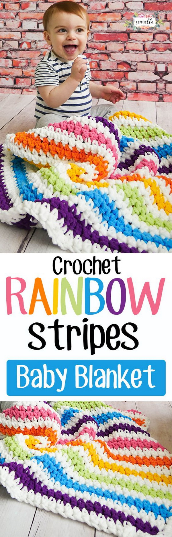 Quick And Easy Crochet Blanket Patterns For Beginners: Crochet Rainbow Stripes Baby Blanket Free Pattern.