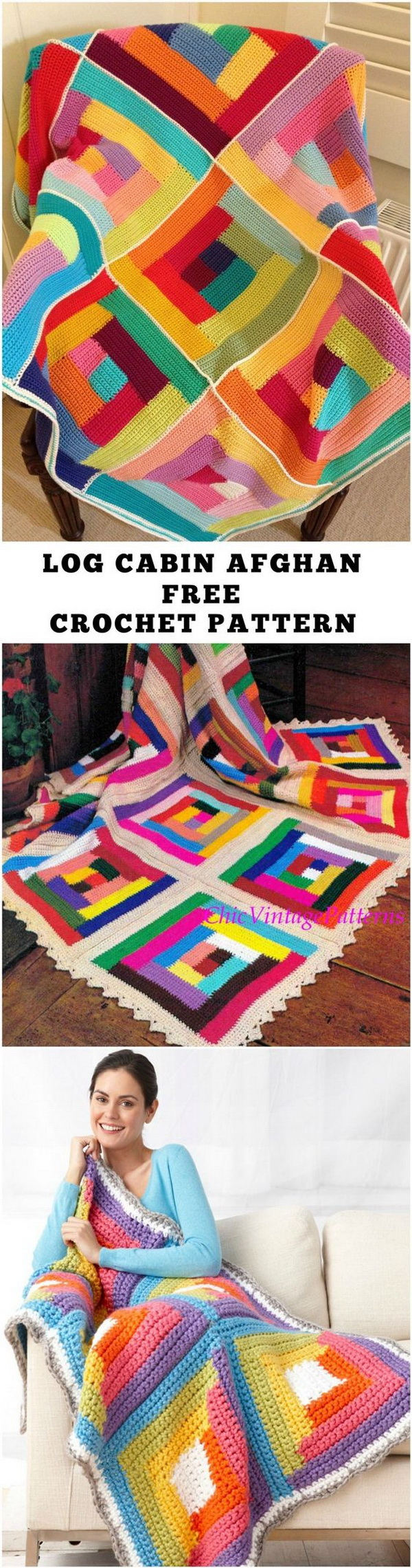 Quick And Easy Crochet Blanket Patterns For Beginners: Bright Log Cabin Afghan.