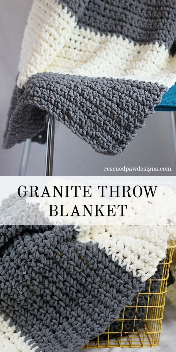 Quick And Easy Crochet Blanket Patterns For Beginners: Granite Crochet Throw Blanket.