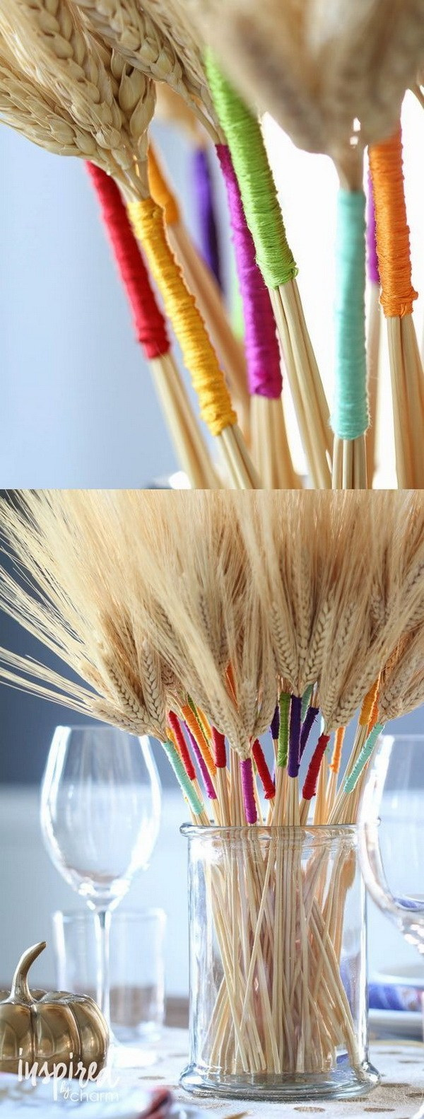 DIY Color Wrapped Wheat. Add a pop of colors to your Thanksgiving and fall table with this stunning and beautiful DIY craft.