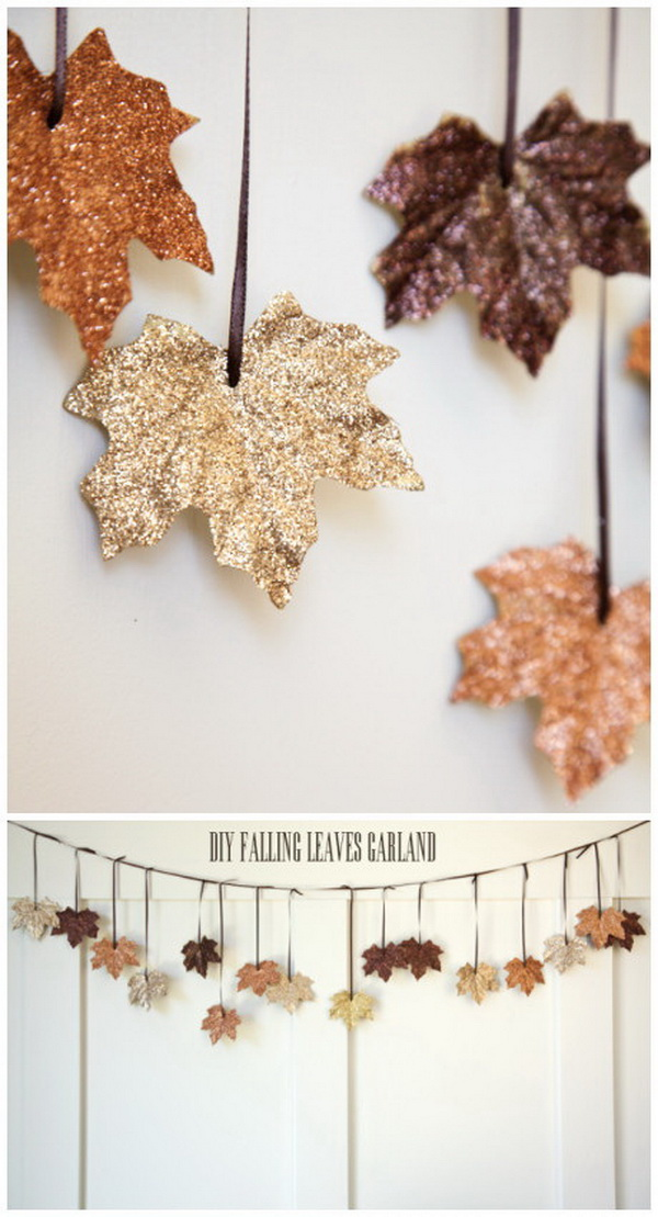 DIY Glittery Leaf Garland. This DIY glittery leaf garland is easy and fun to make with your families and will be sure to spruce up your house for the season.