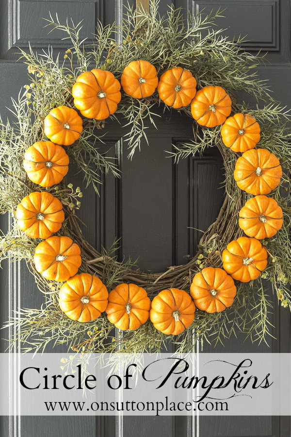 Circle Pumpkin Wreath. Wreaths bring a touch of whimsy and charm to any holiday decoration. This mini pumpkin wreath will add some serious style to your door decor throughout this fall seson.