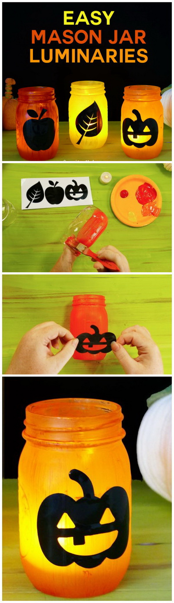 Easy Mason Jar Luminaries. These mason jar luminaries are super easy to make and pretty to add to your fall or halloween decor!