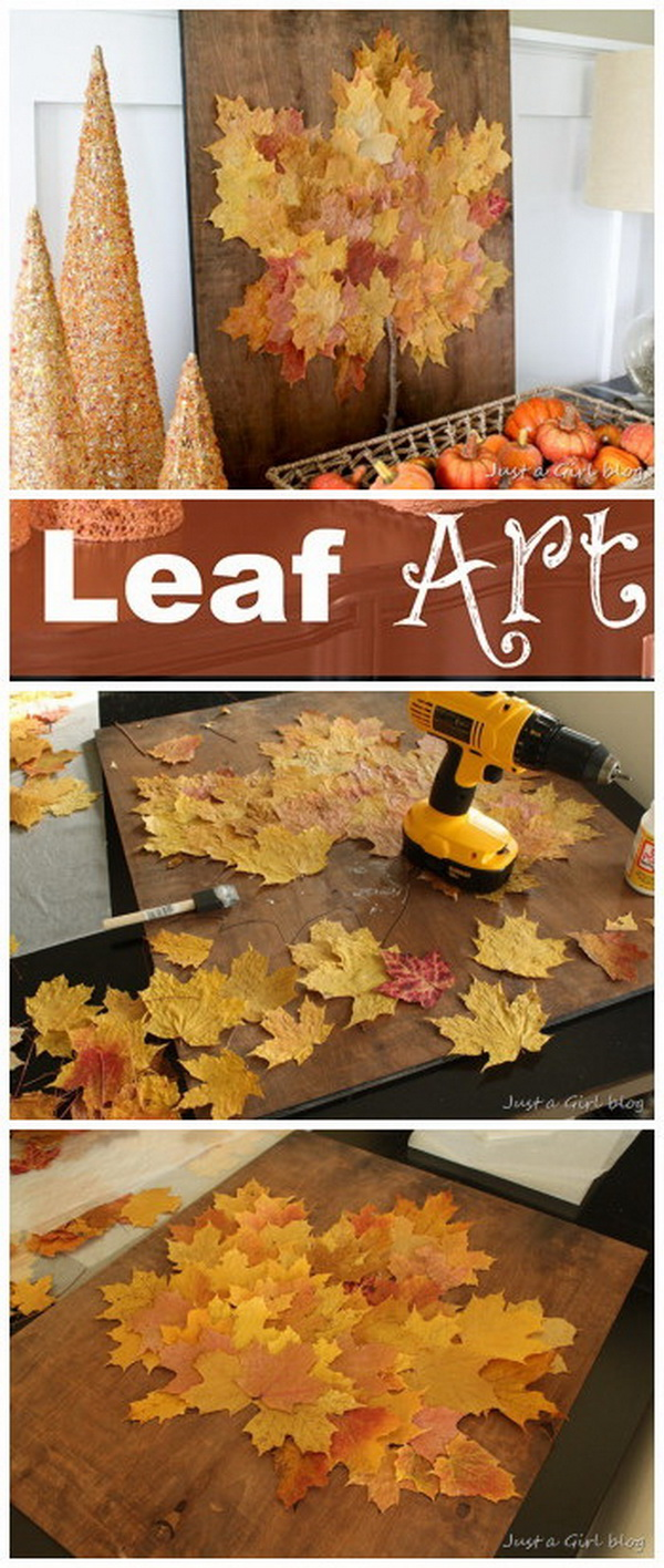 Fall Leaf Art. Fall leaves have become a crafting obsession for its brilliant and varying colors. Create an easy and fun wall art project with fall leaves for this fall decoration.