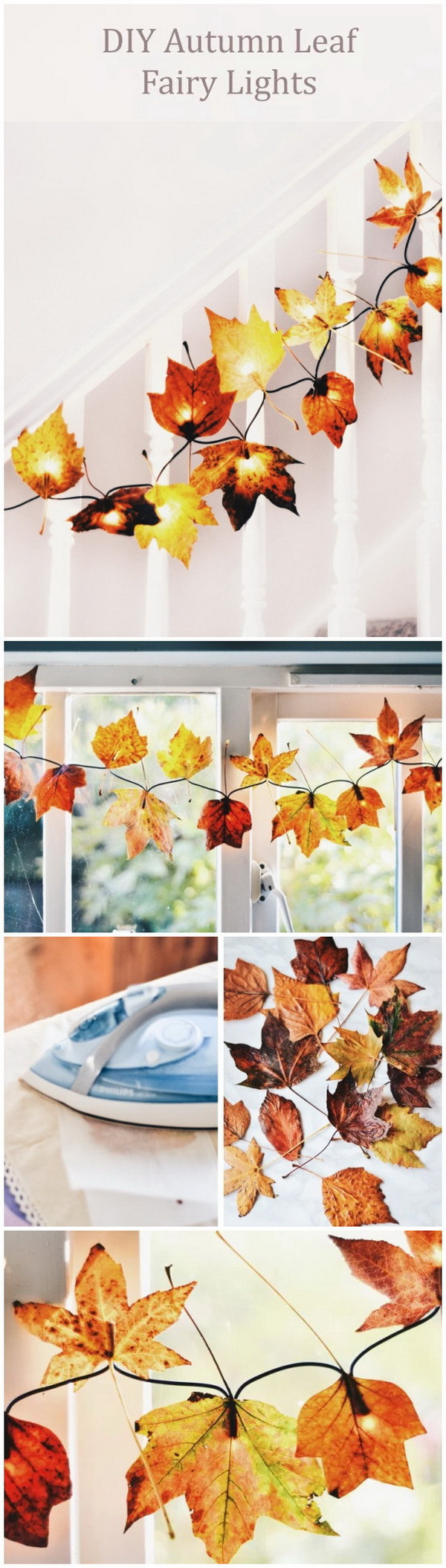 DIY Autumn Leaf Fairy Lights. Bring some autumn decor into your home with this stunning project! All you need is a string of fairy lights, a collection of beautiful fall leaves, waxed paper and some Uhu glue.