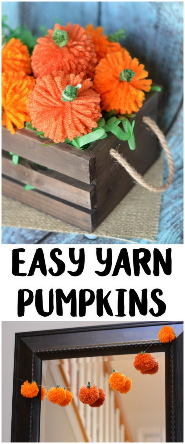 Easy DIY Yarn Pumpkins. Adorable pumpkin balls made with yarn can be the warm and easy decorations for the upcoming fall and Thanksgiving season. Easy and fun crafts for kids to make!