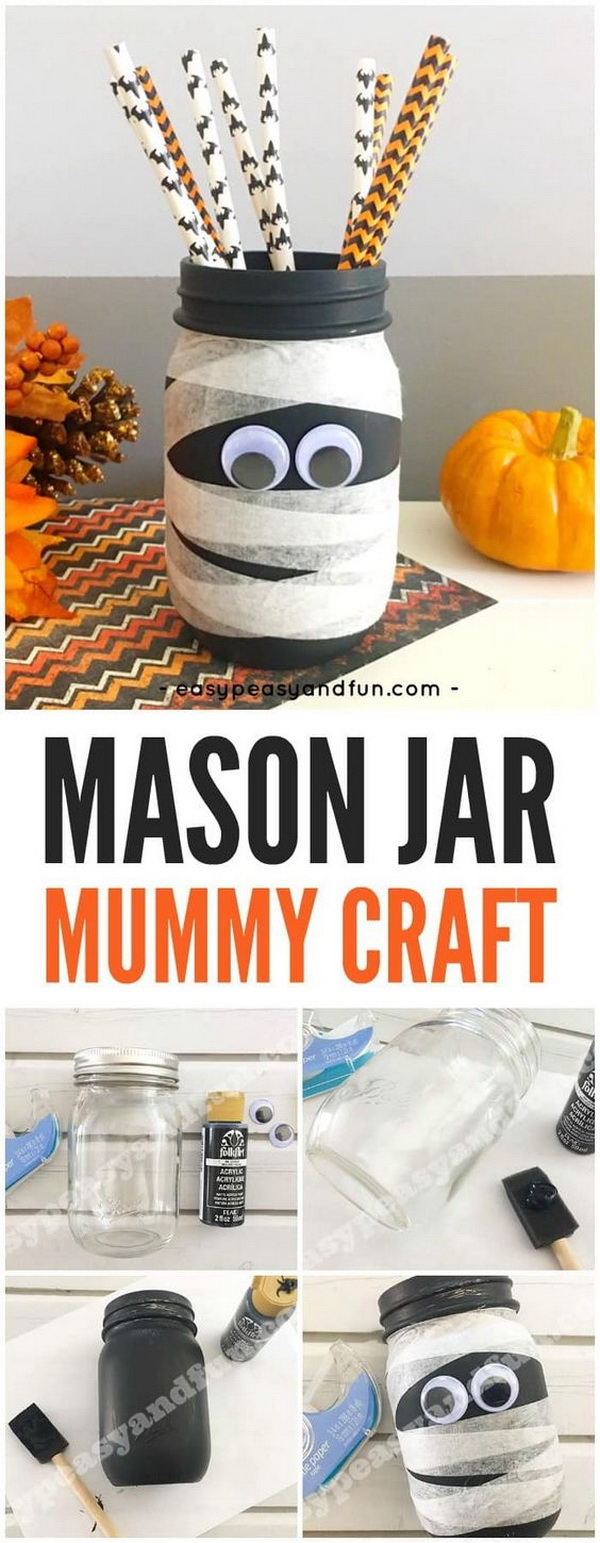 Mason Jar Mummy. This mason jar mummy is a fun Halloween craft for both adults and kids! Great to be used as a wonderful DIY Halloween decoration at your home or in your classroom.