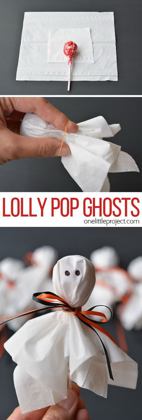 Lolly Pop Ghosts. These cute lolly pop ghosts are super easy and make a fun treat for a Halloween party or to send to school on Halloween!