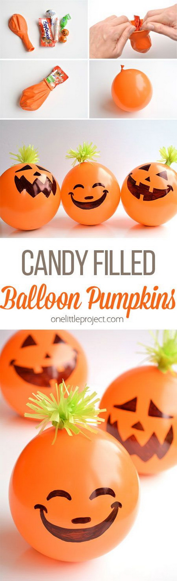 Candy Filled Balloon Pumpkins. These adorable candy filled balloon pumpkins are great as party favors for any kind of Halloween party! And they're so easy to make!