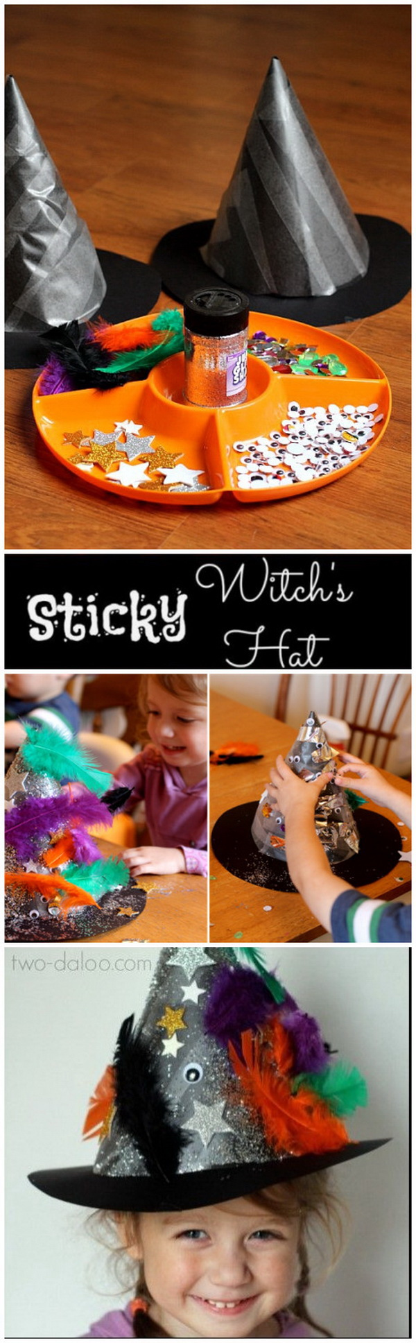 Sticky Witch Hat Toddler Craft. These sticky witch hats are made with contact paper, poster board, and collage materials! Kids big and small will have great fun in this craft!