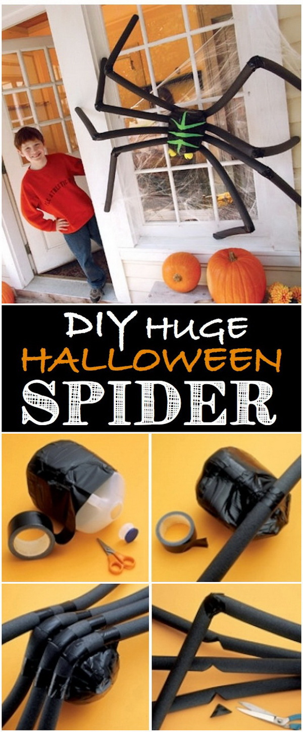 Huge Black Foam Spider. Decorating your house for Halloween and make it look particularly spooky by placing a giant fake spider outside that is made with materials you can find around your house or purchase inexpensively from a supermarket.