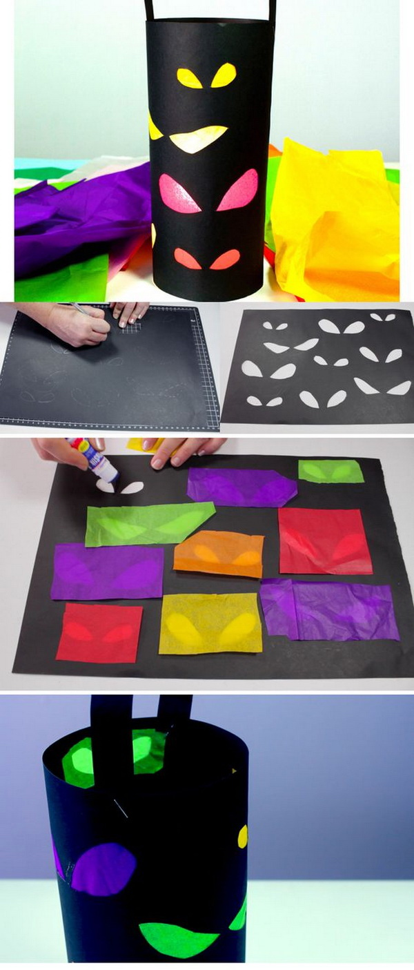 Spooky Lantern For Halloween. This paper lanterns is a great way for kids to display their artistic talents for this Halloween holiday. It is not just fun, but are also easy to do.