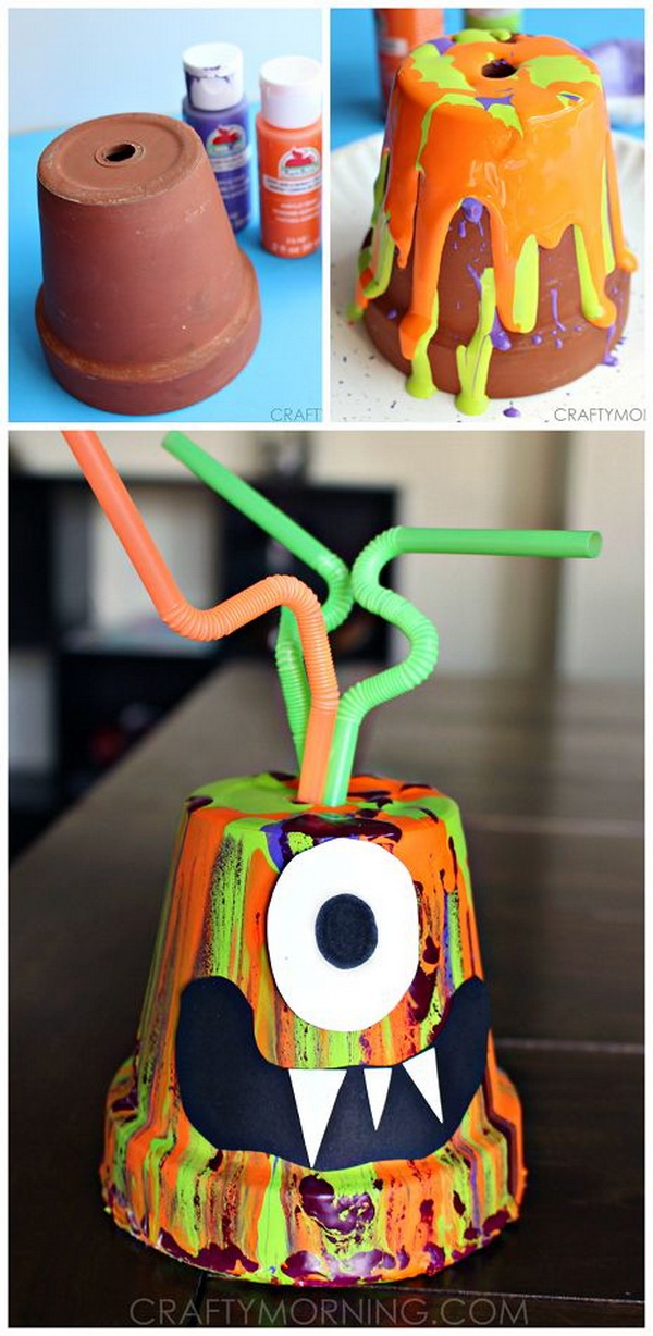 Paint Drip Monster Pots. Change the simple terra cotta pots into this adorable monster craft using paint! It's a great halloween art project for the kids to do. It also makes perfect holiday decoration.