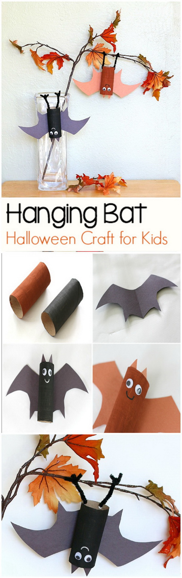 Hanging Bat Craft for Kids with Bat Wing Template. Create these simple hanging bats using empty toilet paper rolls and hanging them on the branch! This little project looks so adorable and helps kids decorating for fall or Halloween.