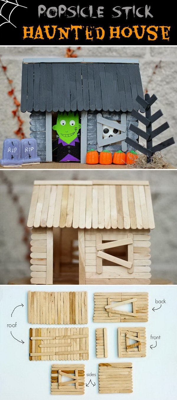 Popsicle Stick Haunted House for Halloween. This popsicle stick haunted house is a great Halloween craft and makes a great decoration that you can keep around year after year!