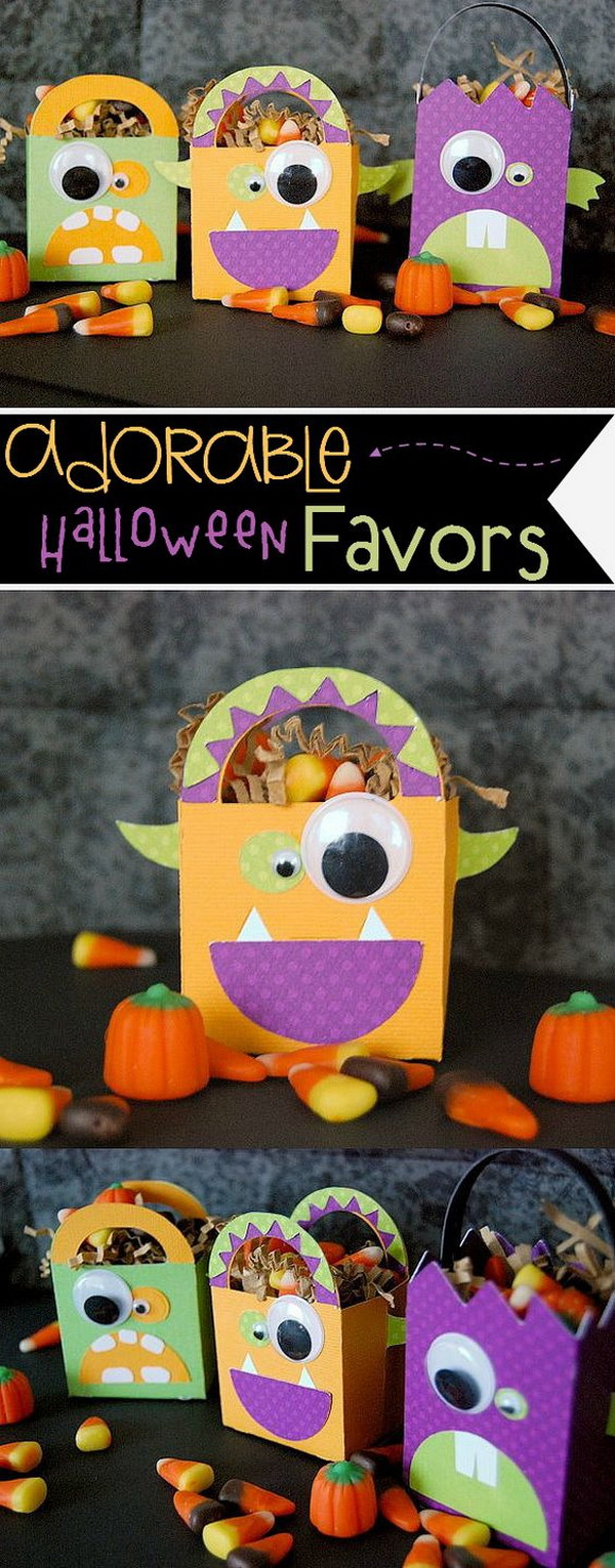 Adorable Monster Party Favors. These Monster party favors will add a little fun to your Halloween! Every kids will love it very much and also have great fun making it by their little hands!