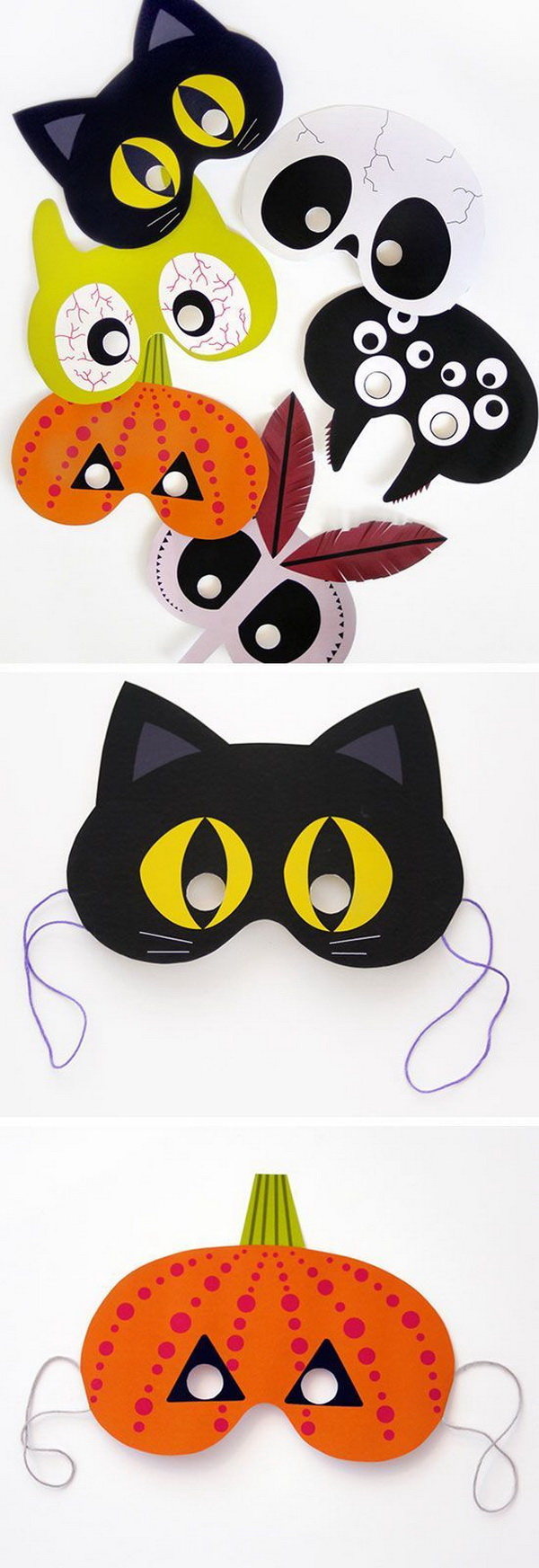 Printable Halloween Masks. Let your little ones creating these adorable masks for their own party. Fun and simple Halloween kids craft!