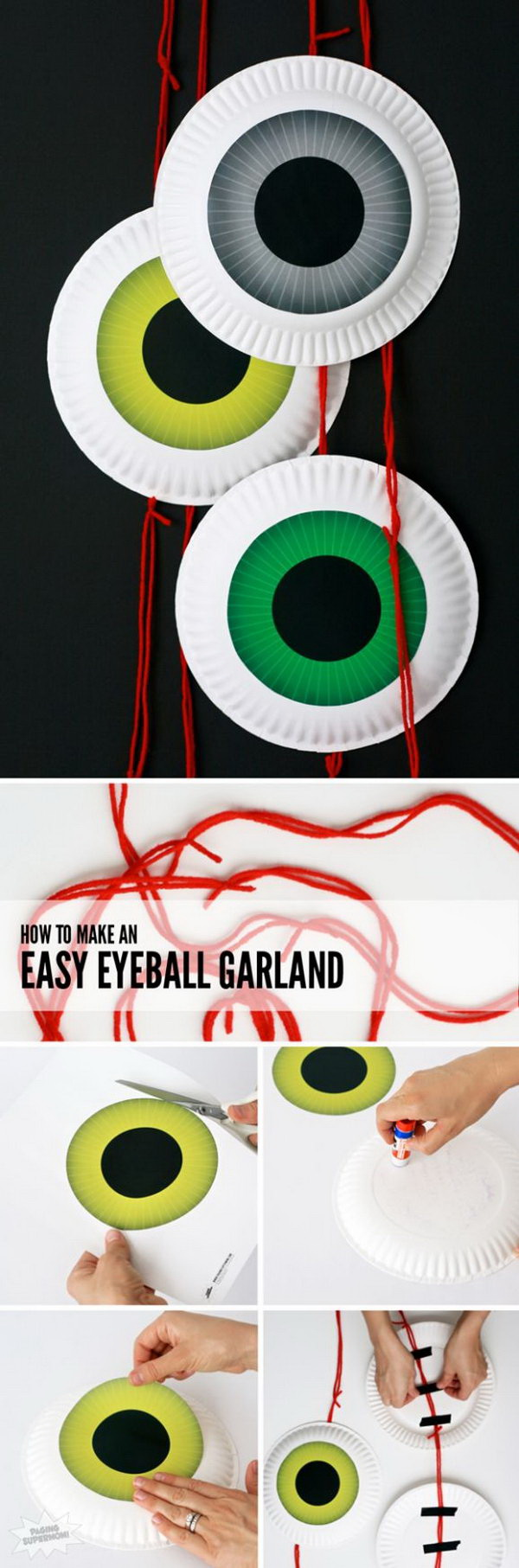 Cute DIY Halloween Eyeball Door Garland. This eyeball door garland is fun for the front door decoration during this Halloween season! Fun and incredibly easy to make with our tutorial.