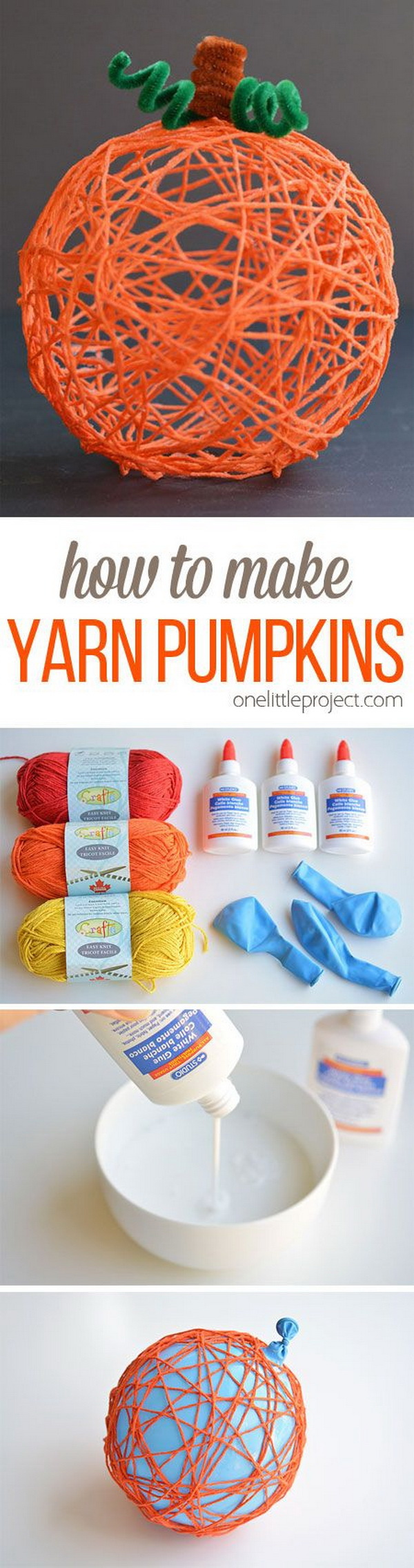 Yarn Pumpkins Using Balloons. Create this unique and lovely pumpkin with yarn and a balloon! They'd make a BEAUTIFUL centerpiece or mantle decoration, or you could even use them for Halloween!