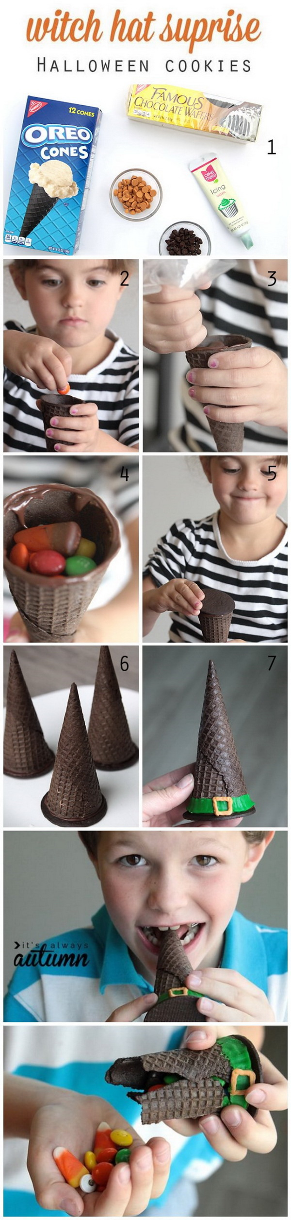 Witch Hat Surprise Cookies. These little cute witch hat surprise cookies are easy to make with an ice cream cone and a chocolate wafer and then filled with Halloween treats. What a fun and easy idea to do with the kids!