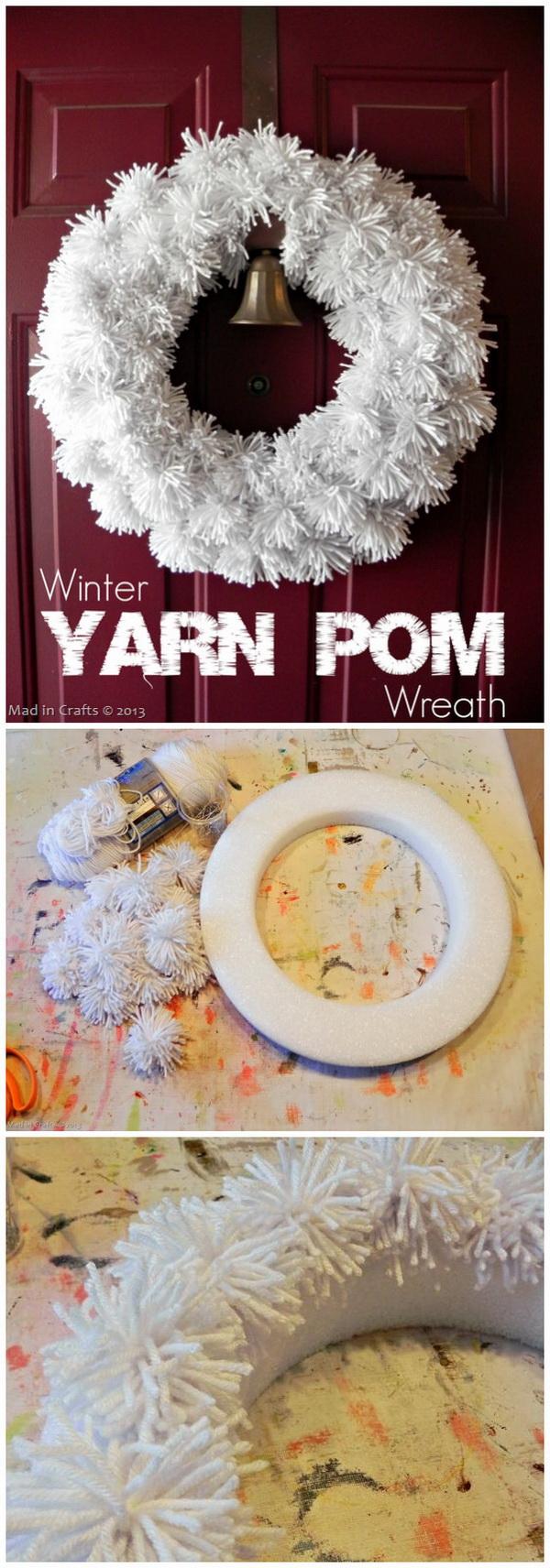 Winter Yarn Pom Wreath.