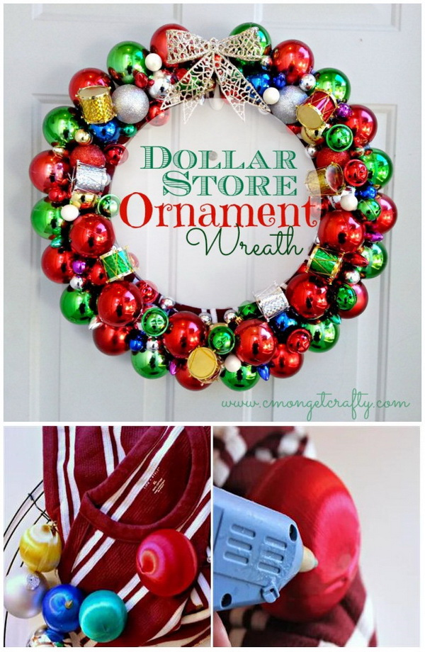 30 festive diy christmas wreath listing more dollar store ornament wreath solutioingenieria Images