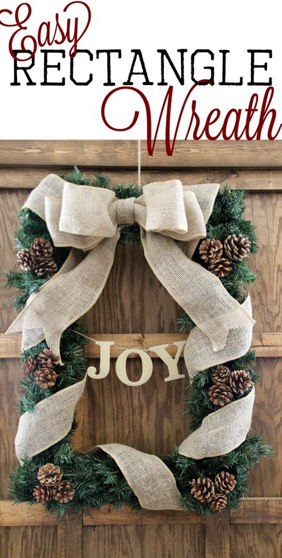 DIY Rectangle Wreath.