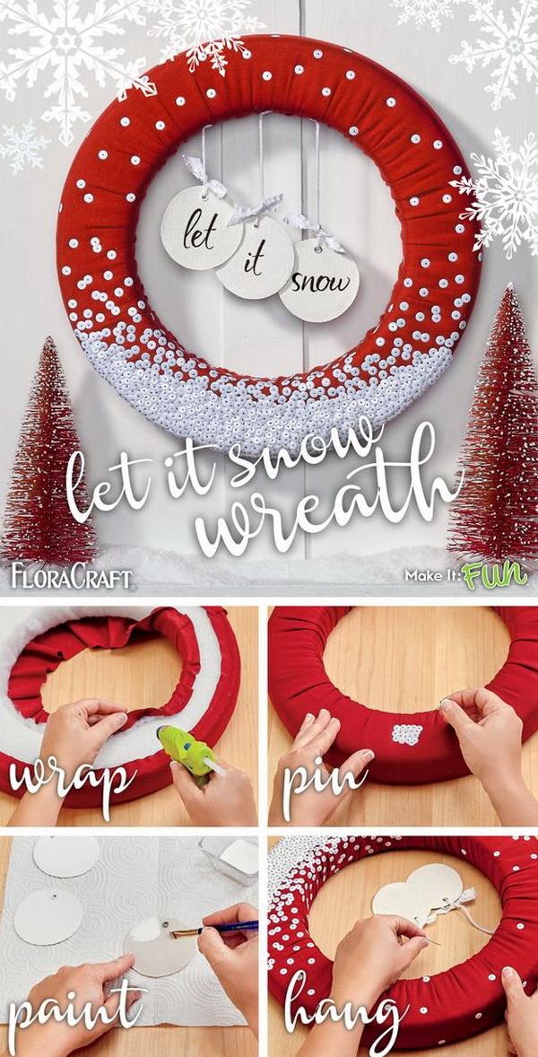 Let It Snow Sequins Wreath .