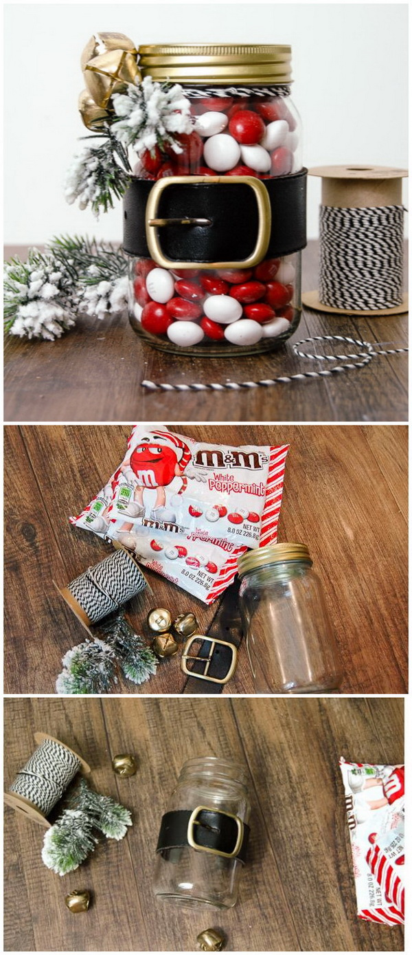 Dollar Store Santa Belt Jar. These Santa Belt jars are easy to whip up just in time and make great for a quick last minute holiday gift.