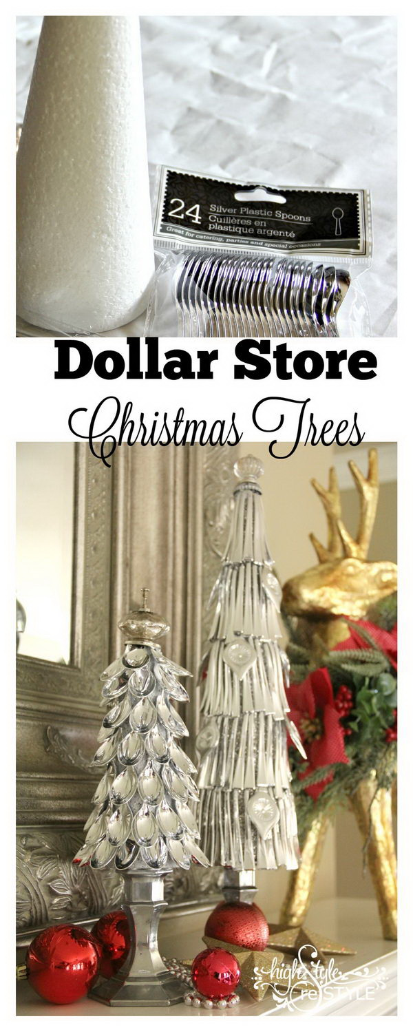 dollar store silver spoon christmas trees - Dollar Store Christmas Tree