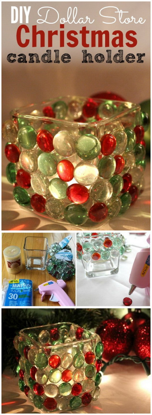 dollar store christmas candle holder - Christmas Ball Decoration Ideas