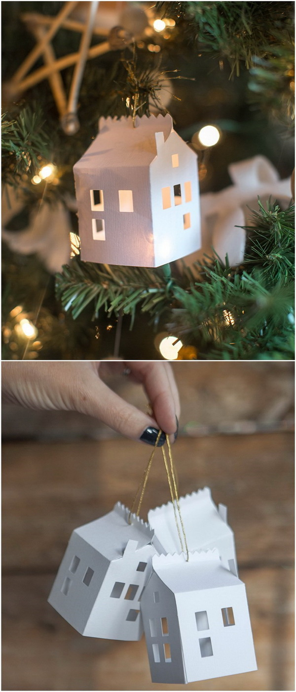 DIY Paper House Christmas Ornament. Love the elegant and simple look of these paper house ornaments!