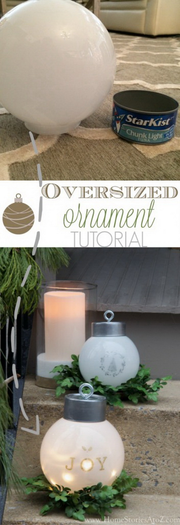 DIY Oversized Ornaments. Personalized giant ornaments with LED linghting inside great for the outdoor Christmas decoration!
