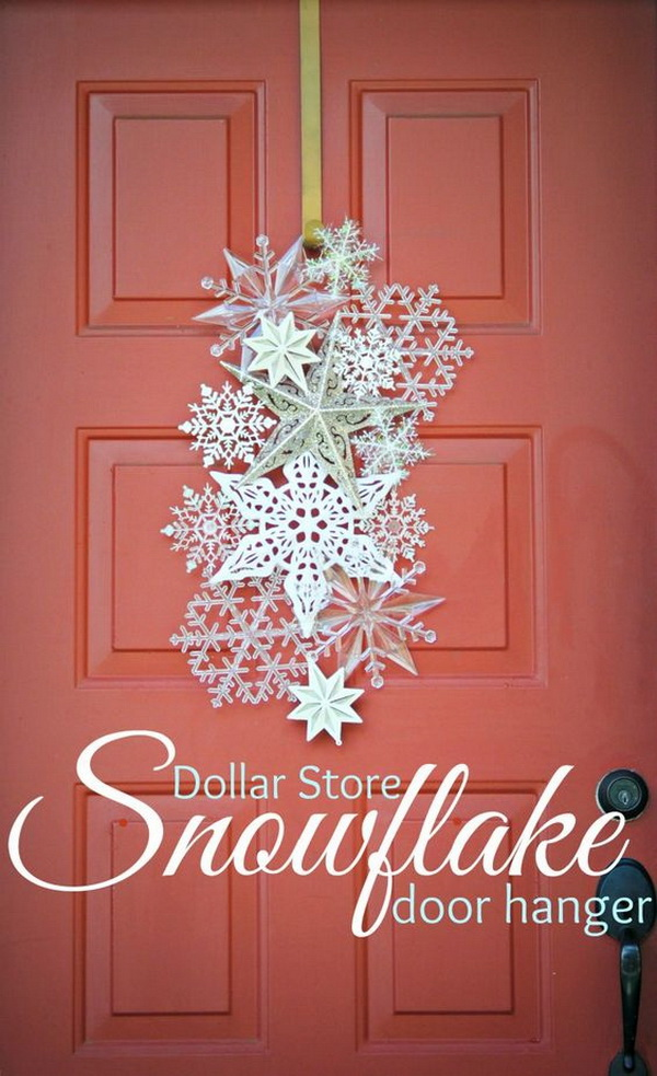 Dollar Store Snowflake Door Hanger. Welcome the upcoming winter holiday with a create and elegant door hanger made with snowflake ornaments!
