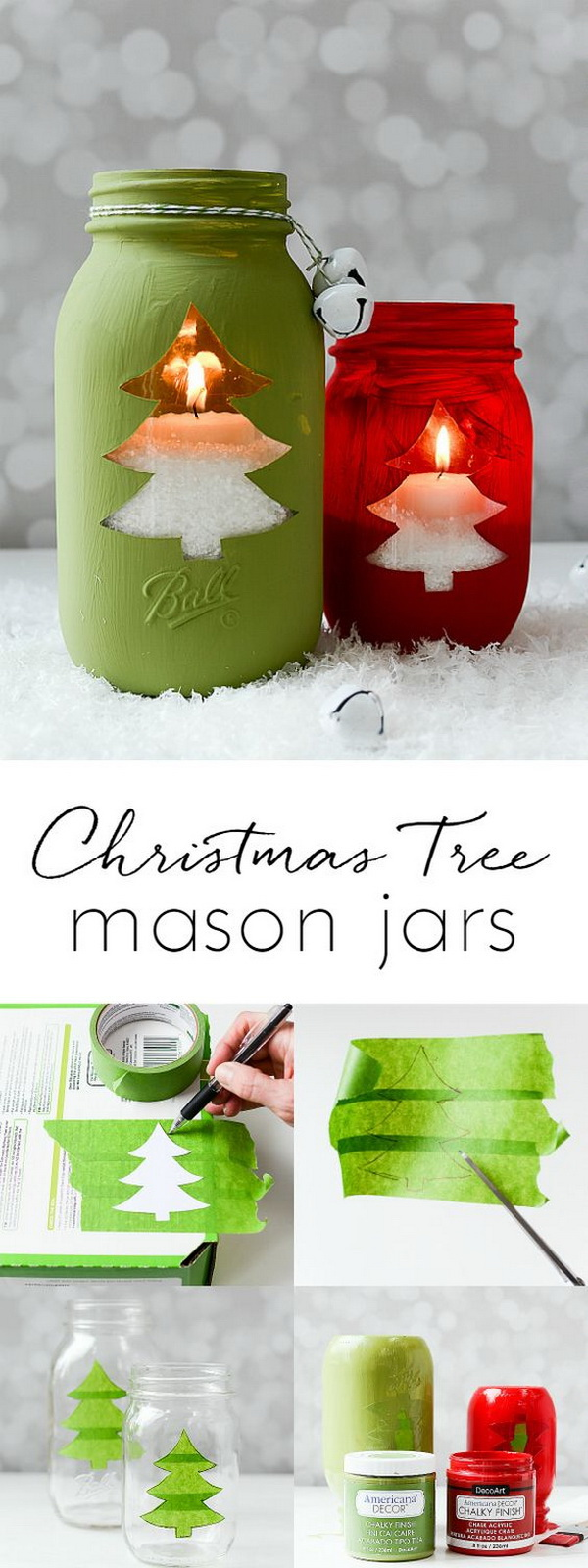 christmas tree mason jar votive mason jars make great christmas crafts for decoration and handmade - Dollar Store Christmas Crafts