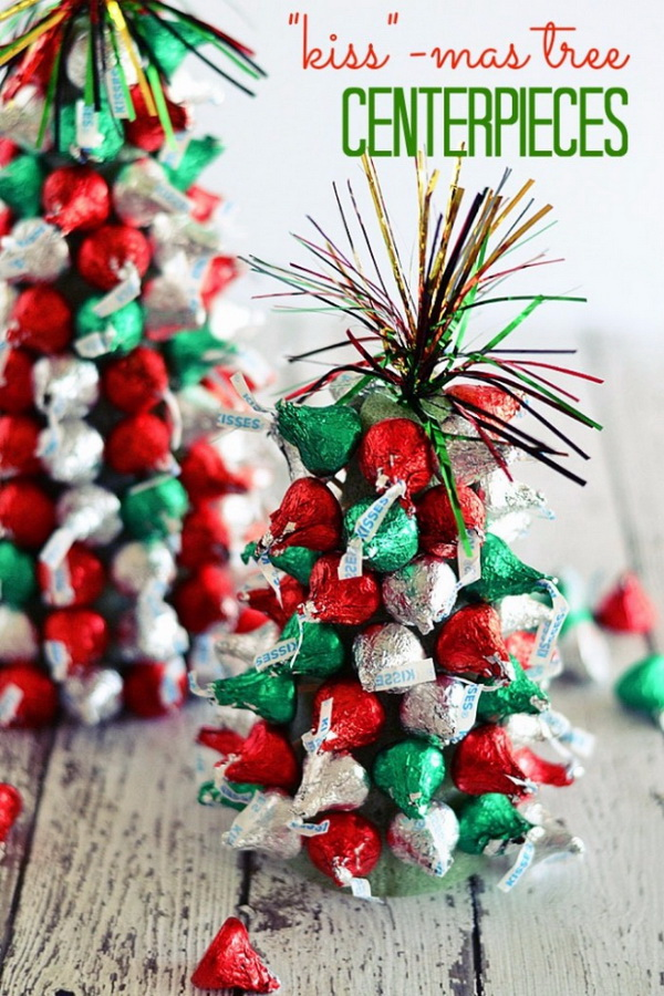 "Kiss""-mas Tree Centerpieces. DIY little Christmas tree made with Kiss Chocolates in the red and green colors! Perfect for Christmas kids party decor!"