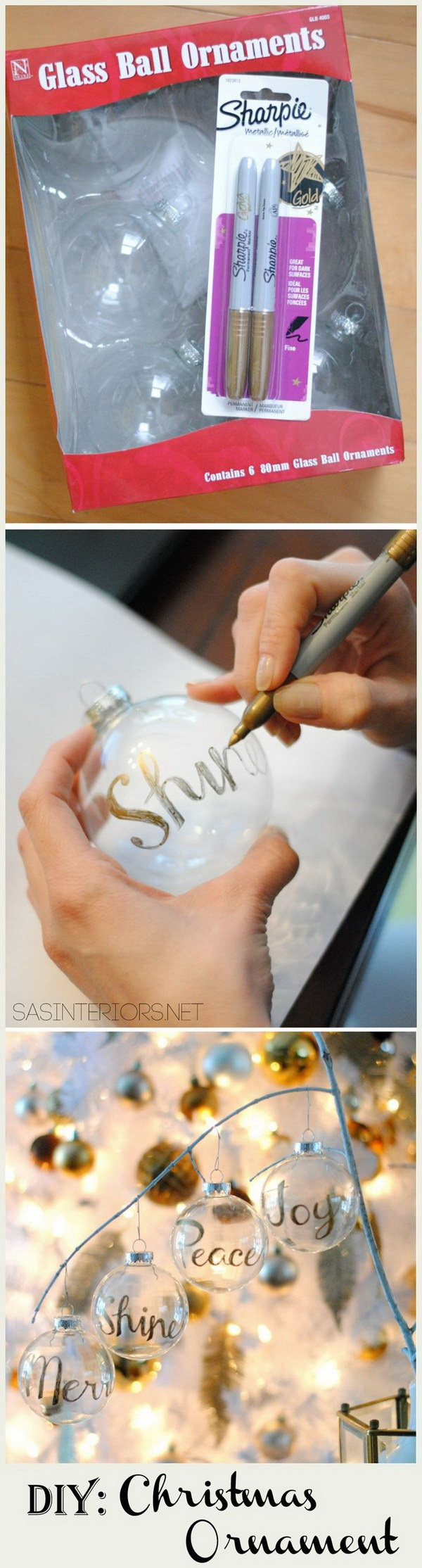 DIY Personalized Word Christmas Ornament. Get the simple Christmas ornament balls personalized with some words!