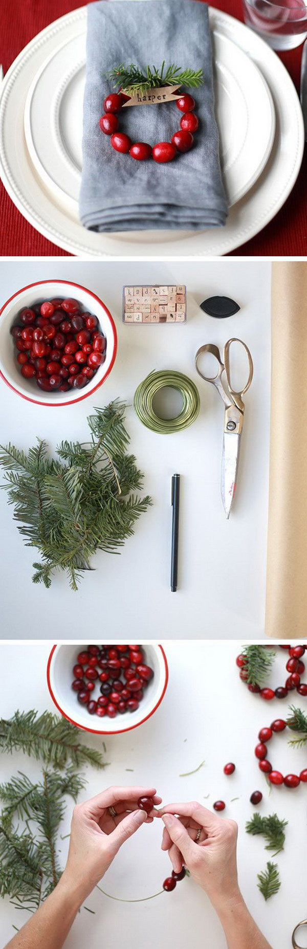 DIY Mini Cranberry Wreath Place Cards. These little mini cranberry wreaths are perfect and so sweet for entertaining for a Christmas or Thanksgiving party.
