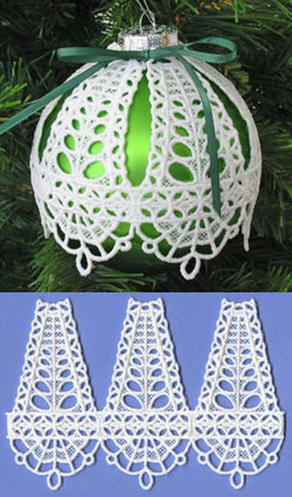 Freestanding Lace Christmas Ornament Covers.