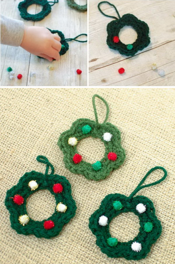 Christmas Wreath Ornament Crochet Pattern.