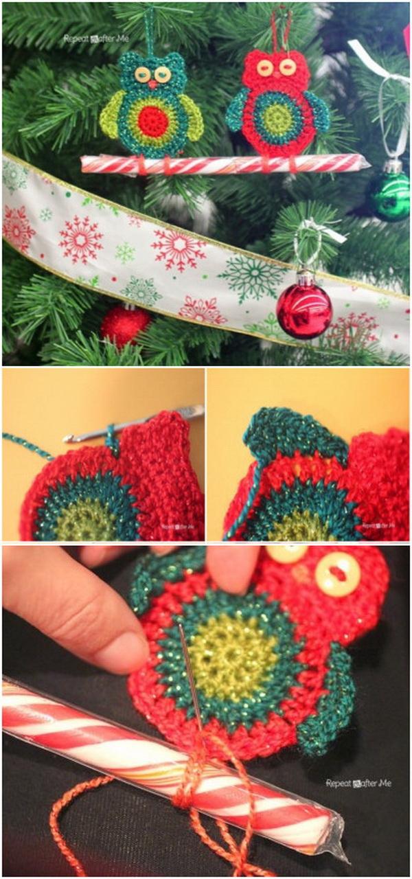 Crochet Owl Candy Cane Ornaments.