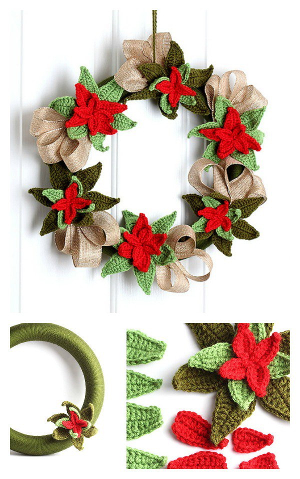 Christmas Poinsettia Wreath.