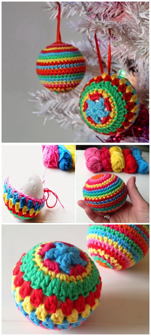 Crochet Rainbow Ball Ornaments. Another Christmas crochet pattern that can be used for gifts or decor!