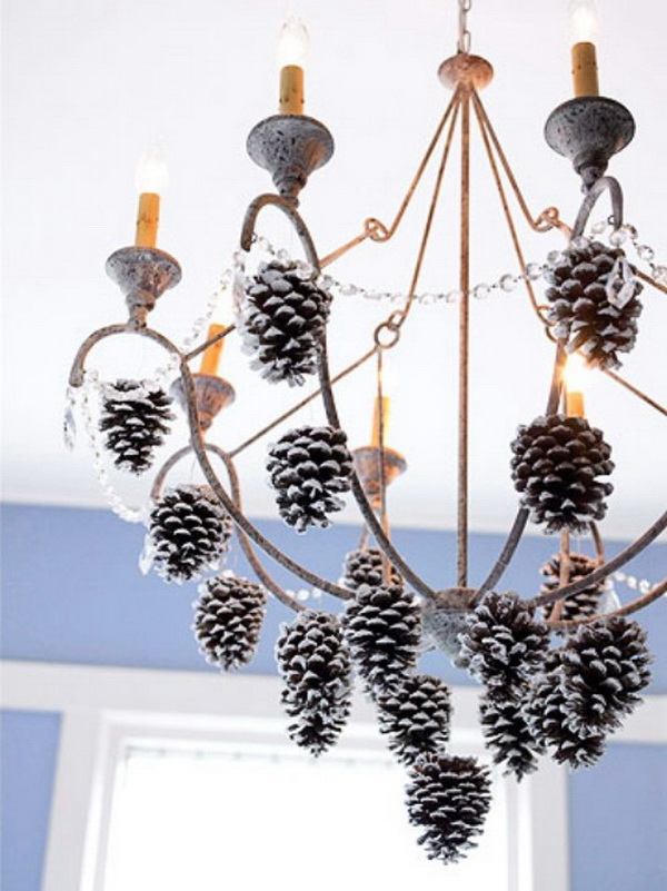 Woodsy Chandelier Decorated with Pine Cones.