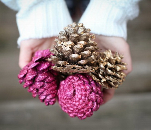 Gilded and Glittered Pine Cones.